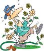 Summer Cartoon of a Man Fighting with Weeds in His Yard clipart