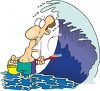Summer Cartoon of a Scared Guy Standing Under a Huge Wave clipart