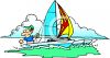 Summer Cartoon of a Guy on a Sailboat in Rough Water clipart
