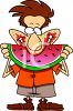 Summer Cartoon of a Guy Eating Watermelon clipart