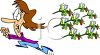 Summer Cartoon of a Woman Running from a Swarm of Wasps clipart