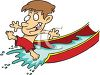 Summer Cartoon of a Boy on a Water Slide clipart