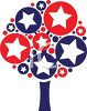 Red White and Blue Stars on a Tree clipart
