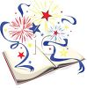 Stars and Ribbons Bursting from a Book clipart