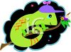 Whimsical Lizard on a Branch clipart