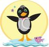 Whimsical Penguin with a Fish Friend clipart