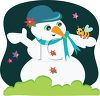 Cute Snowman with a Bee Friend clipart