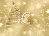 Gold 3D Christmas Tree on a Snowflake Background clipart