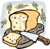 Whole Wheat Bread on a Cutting Board with a Knife clipart
