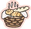 Basket of Hot Bread clipart