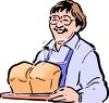 woman Holding Fresh Baked Loaves of Bread clipart