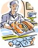 Baker Holding Hot Bread Over the Counter clipart