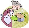 Cartoon of a Grandma Baking Bread clipart