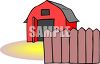 Cartoon Red Barn with a Fence in Front clipart
