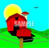 Red Barn on a Grassy Hill on a Spring Day clipart