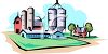 Commercial Barn with Silos and a Farmhouse clipart