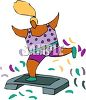 Fat Woman Using a Stair Step to Exercise clipart