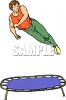 Athlete Jumping on a Trampoline clipart