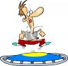Cartoon of a man Exercising on a Trampoline clipart