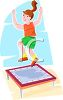 Girl Jumping on a Trampoline clipart