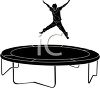 Silhouette of a Boy Jumping on a Trampoline clipart