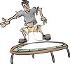 Guy Jumping on a Trampoline clipart