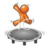 Mascot Character Jumping on a Trampoline clipart