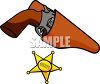 Sheriff Star and a Revolver in a Holster clipart
