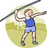 Track and Field Athlete Cartoon Guy Throwing Javelin clipart
