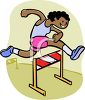 African American Track and Field Athlete Jumping Hurdles clipart