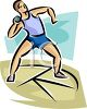 Track and Field Athlete Preparing to Throw the Shot Put clipart