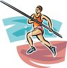 Track and Field Pole Vaulter Running with the Pole clipart