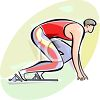 Track and Field Athlete Racer at the Starting Block clipart