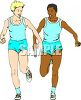 Black Relay Racer Handing Off the Baton to a Caucasian Teammate clipart