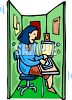 Woman Working in a Cramped Cubicle clipart