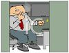 Office Worker Smoking a Cigarette in His Cubicle clipart