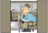 Busy Office Worker in His Cubicle clipart