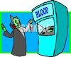 Cartoon of a Vampire Getting Blood at a Blood Bank clipart