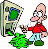 ATM Spilling Money Out at a Bewildered Man clipart