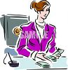 Bank Teller Counting Money from the Safe clipart