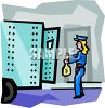 Armored Truck Guard Putting Money Into the Truck clipart