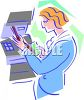 Stylized Woman at an ATM clipart
