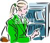 Woman Taking Money Out of an ATM clipart
