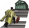 Businessman Running Up the Steps of a Large Bank clipart