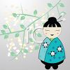 Cute Cartoon Geisha with a Cherry Branch clipart