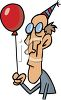 Sad Guy Holding a Birthday Balloon clipart