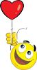 Smiley Holding a Heart Shaped Balloon clipart