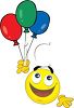 Smiley Holding a Bunch of Balloons clipart