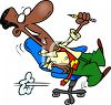 African American Man Playing Around in His Office Chair clipart
