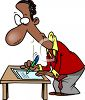 African American Man Filling Out Forms clipart